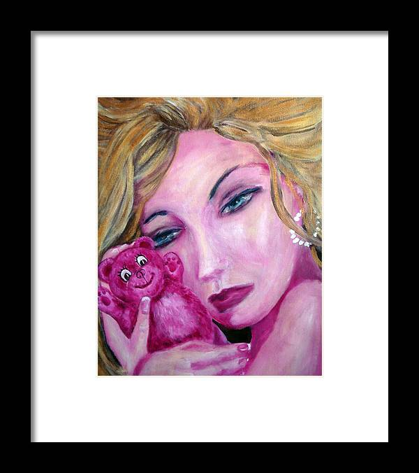 Portrait Framed Print featuring the painting Pillow Talk by Jenni Walford