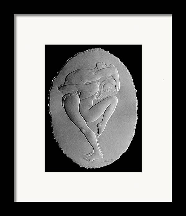 Dancers Framed Print featuring the relief Pilobilus Dancers by Suhas Tavkar