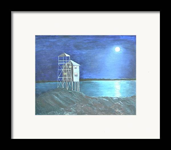 Night Scene Framed Print featuring the painting Pilot House by Sheryl Sutherland