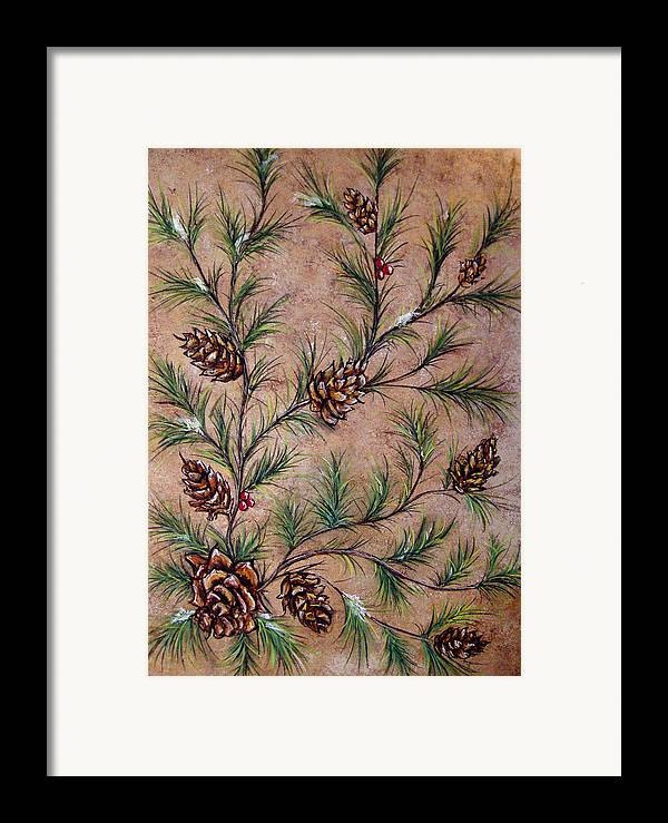 Acrylic Framed Print featuring the painting Pine Cones And Spruce Branches by Nancy Mueller
