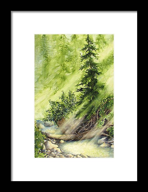 Nature Framed Print featuring the painting Pine Creek by Connie Williams