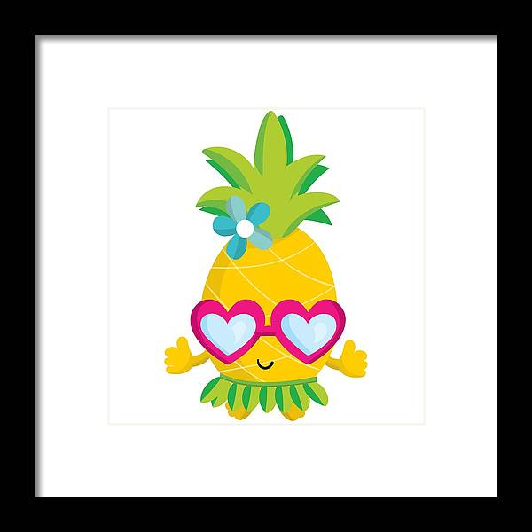 Pineapple Framed Print featuring the digital art Pineapple Hula by Alyssa Phillips