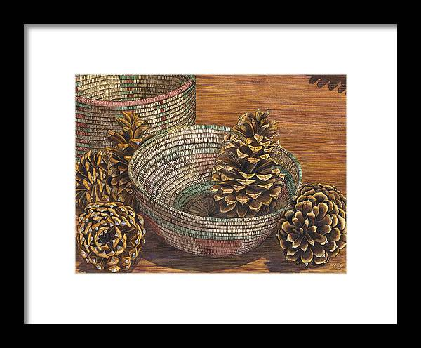 Pinecone Framed Print featuring the painting Pinecones by Catherine G McElroy