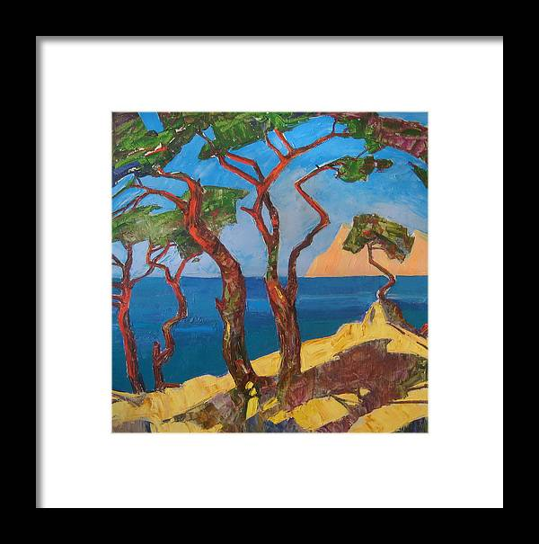Landscape Framed Print featuring the painting Pines Of The Silver Beach by Sergey Ignatenko