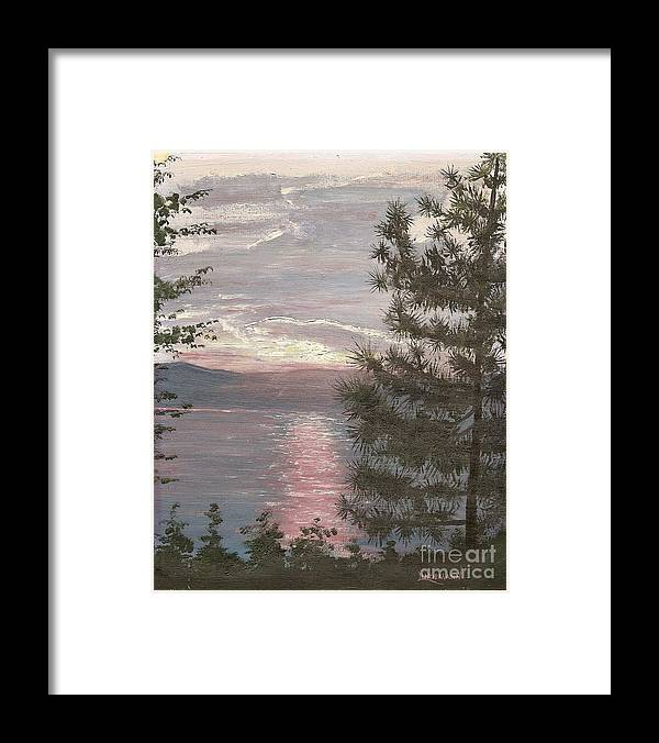 Lake Framed Print featuring the painting Piney Lake by Don Lindemann