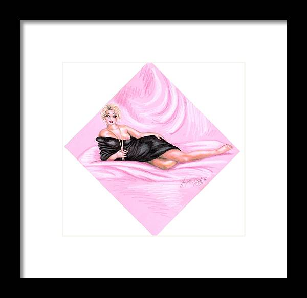 Figure Framed Print featuring the drawing Pink Allure by Scarlett Royal