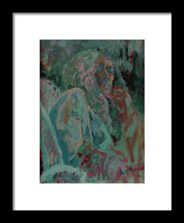 Portrait Framed Print featuring the painting Pink And Green Portrait by Lynne Guess