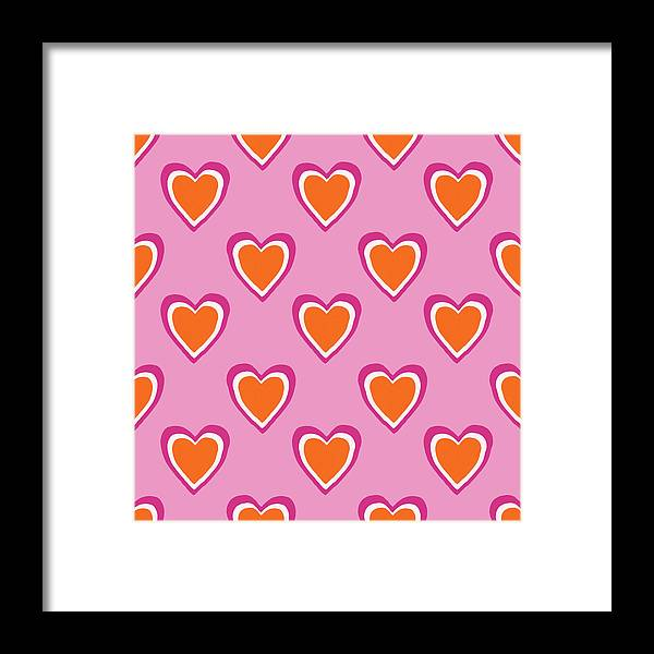 Hearts Framed Print featuring the mixed media Pink And Orange Hearts- Art by Linda Woods by Linda Woods