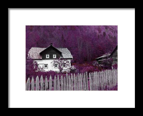 Radiant Orchid Framed Print featuring the photograph Pink And Purple Enchanted Cottage by Brooke T Ryan