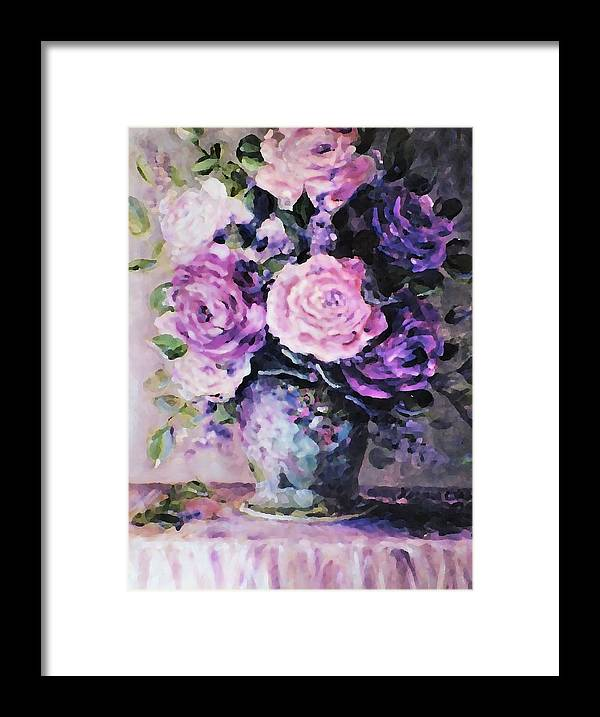 Roses Framed Print featuring the painting Pink And Purple Roses by Ellen Lerner ODonnell