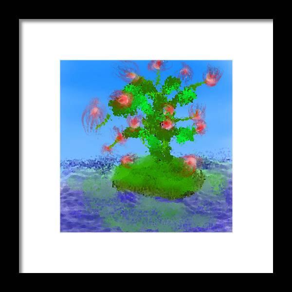 Landscape.sea.birds.island.sky.tree .rest Stop.wave.wind. Framed Print featuring the digital art Pink Birds Ongreen Island by Dr Loifer Vladimir