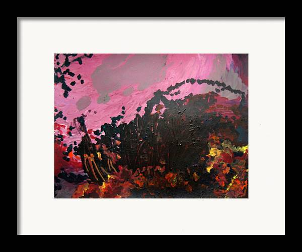 Abstract Framed Print featuring the painting Pink Bliss by Kitty Hansen