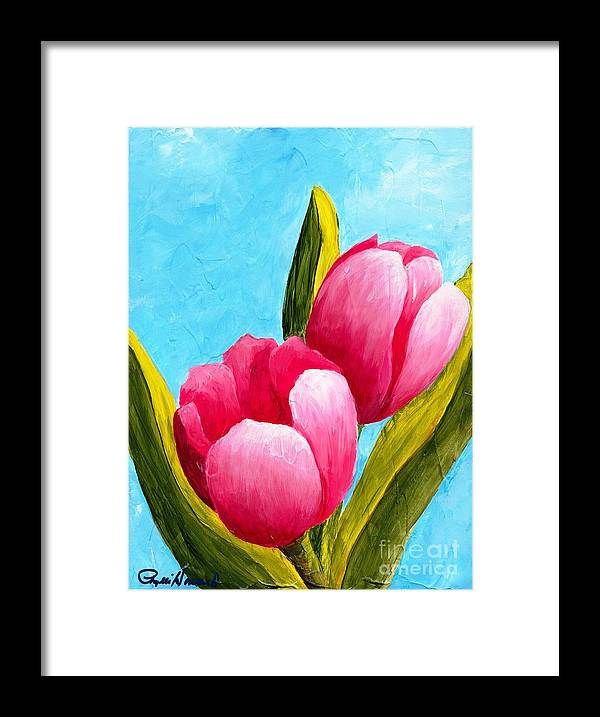 Tulip Framed Print featuring the painting Pink Bubblegum Tulips I by Phyllis Howard