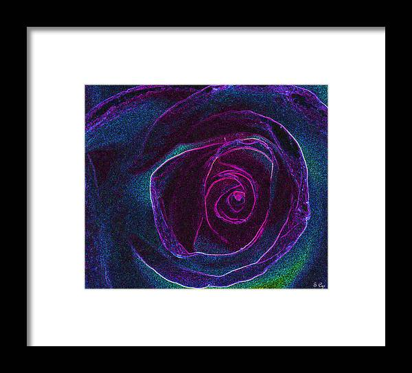 Rose Framed Print featuring the digital art Pink Center by S Cyr