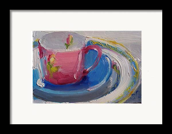 Still Life Framed Print featuring the painting Pink Cup by Susan Jenkins