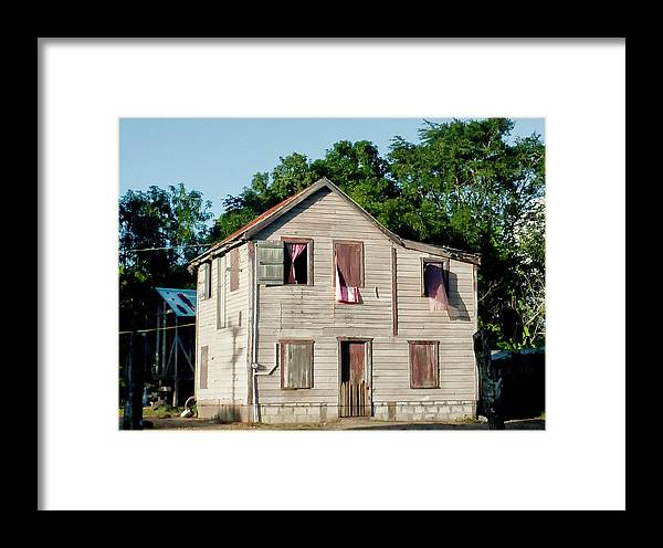 Large House Framed Print featuring the photograph Pink Curtains by Jessica Levant