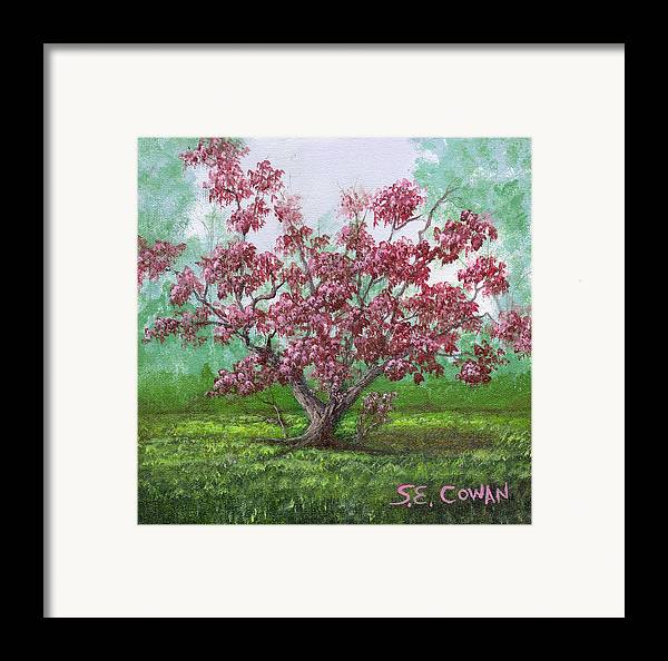 Landscape Framed Print featuring the painting Pink Dogwood by SueEllen Cowan