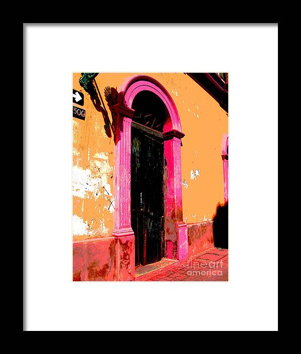 Darian Day Framed Print featuring the photograph Pink Door 1 By Darian Day by Mexicolors Art Photography