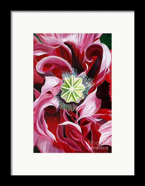Macro Flower Framed Print featuring the painting Pink Entanglement by Julie Pflanzer