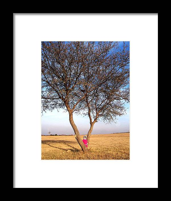 Figure Framed Print featuring the photograph Pink Field Gnome by Caroline Urbania Naeem