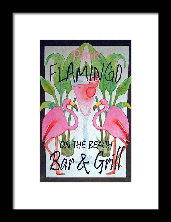 Pink. Flamingo Framed Print featuring the painting Pink Flamingos On The Beach Bar and Grill by Kerra Lindsey