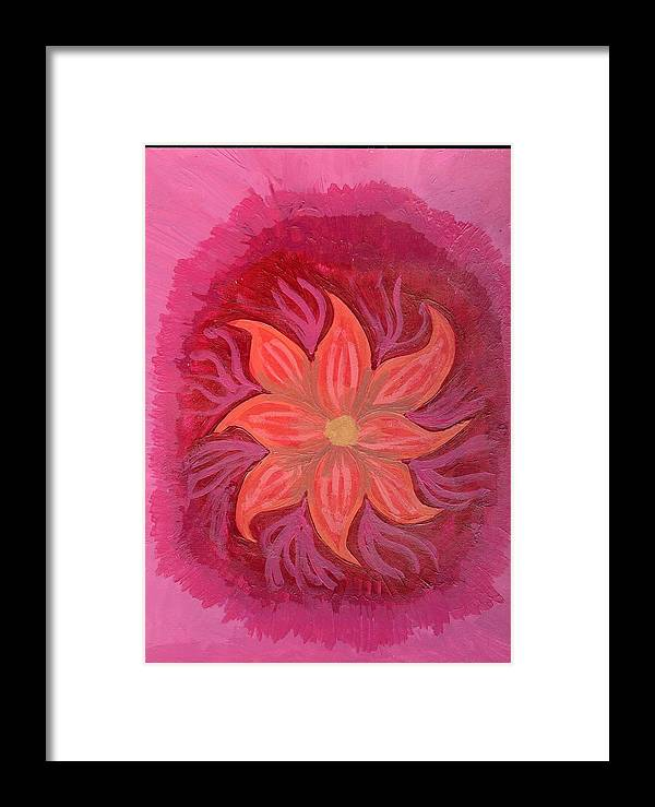 Flower Framed Print featuring the painting Pink Fusion by Laura Lillo