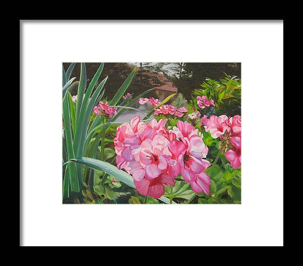 Pink Geraniums Framed Print featuring the painting Pink Geraniums by Lea Novak