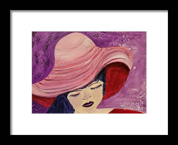 Woman In Pink Hat Framed Print featuring the painting Pink Hat by Vincenzina Baumann