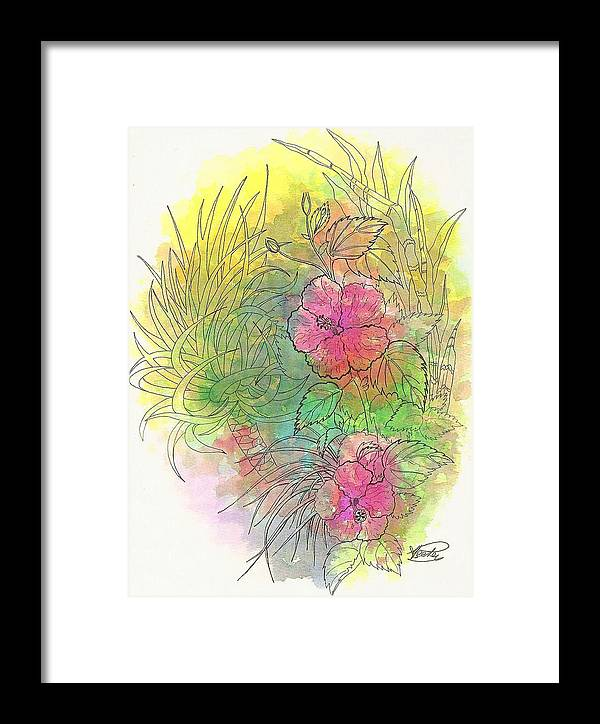 Flowers Framed Print featuring the drawing Pink Hibiscus by George I Perez
