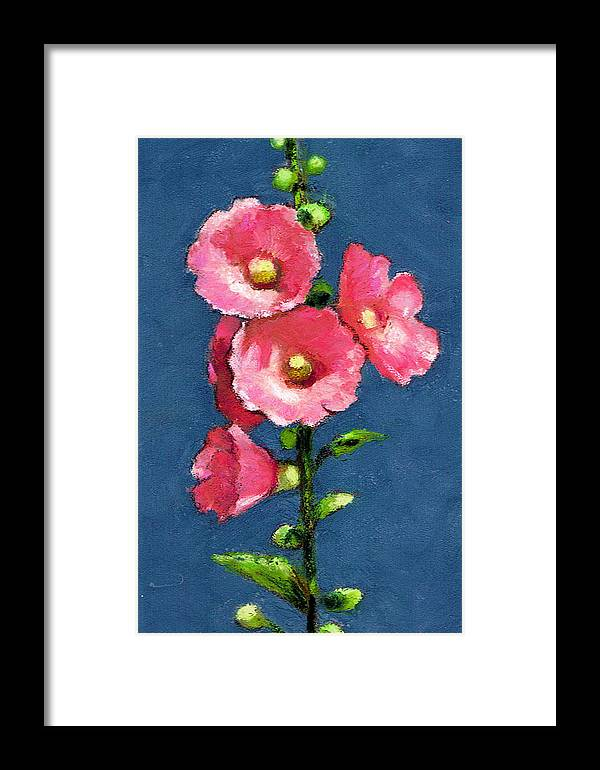 Hollyhocks Framed Print featuring the pastel Pink Hollyhocks by Joyce Geleynse