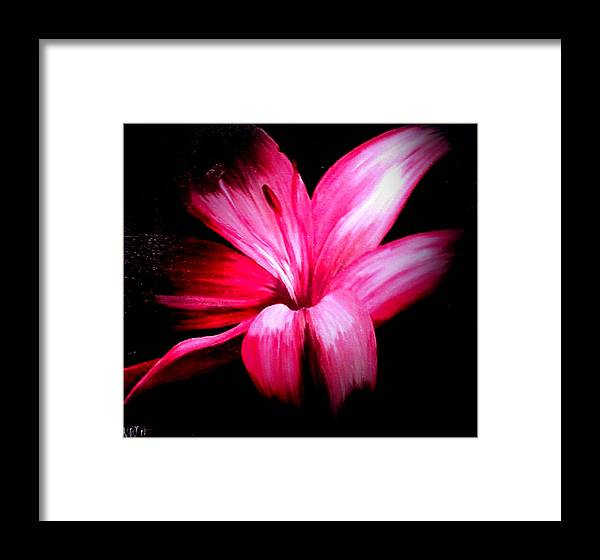 Pink Framed Print featuring the painting Pink Lilly by Martin Williams