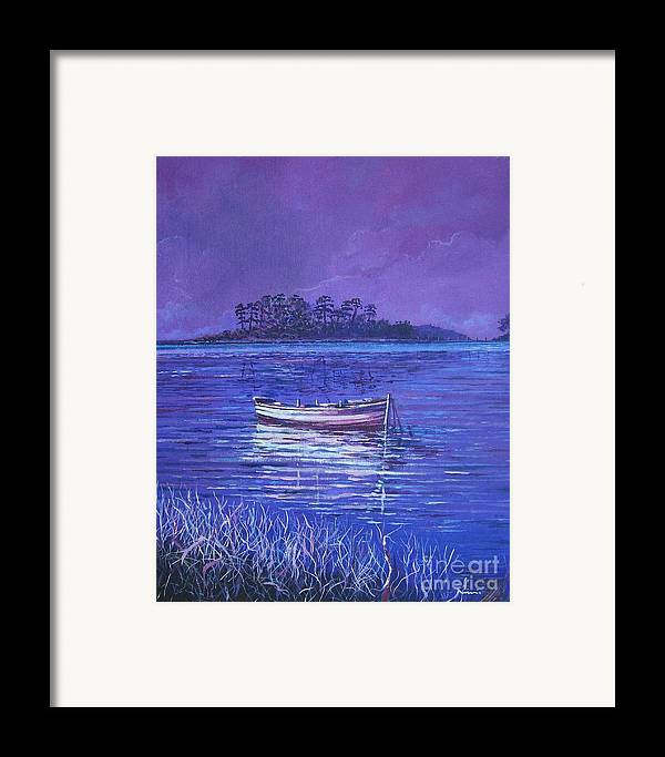 Nature Framed Print featuring the painting Pink Marsh by Sinisa Saratlic