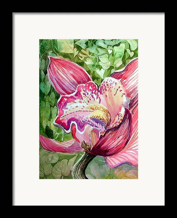 Orchid Framed Print featuring the painting Pink Orchid by Mindy Newman