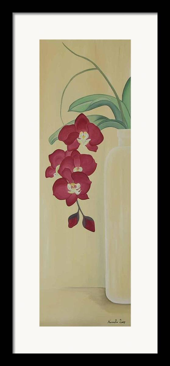 Marinella Owens Framed Print featuring the painting Pink Orchide In A Vase by Marinella Owens