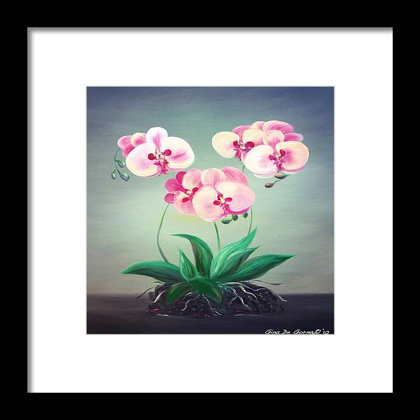 Original Framed Print featuring the painting Pink Orchids 2 by Gina De Gorna