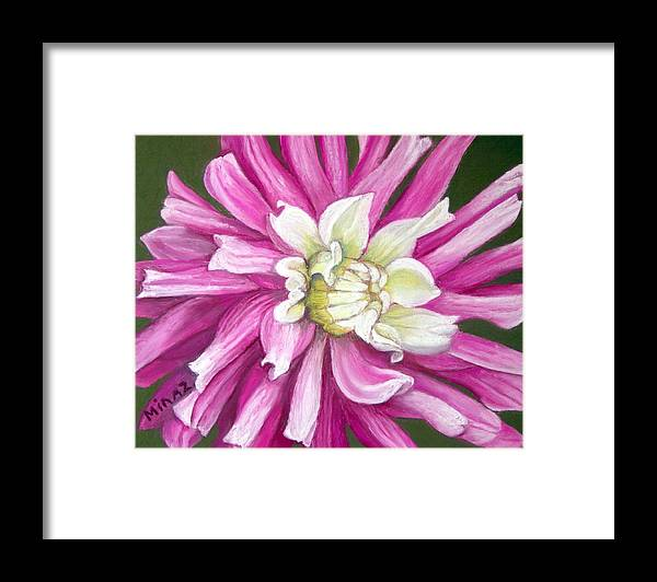 Floral Framed Print featuring the painting Pink Petal Blast by Minaz Jantz