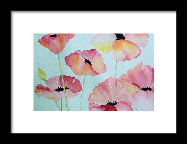 Poppies Framed Print featuring the painting Pink Poppies by Elise Boam