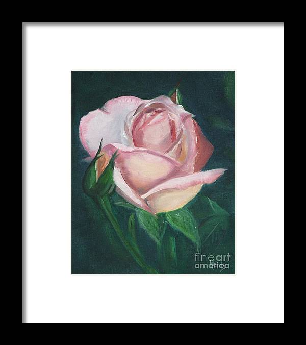 Rose Framed Print featuring the painting Pink Rose by Mendy Pedersen