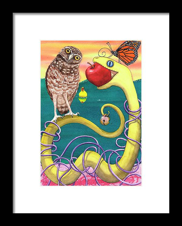 Snake Framed Print featuring the painting Pink Sand by Catherine G McElroy