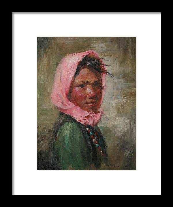 Tibet Framed Print featuring the painting Pink Scarf by Kelvin Lei