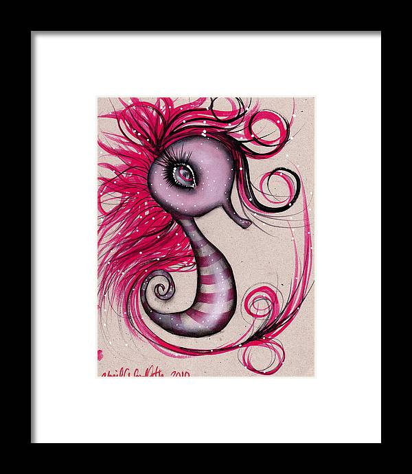 Seahorse Framed Print featuring the painting Pink Seahorse by Abril Andrade Griffith