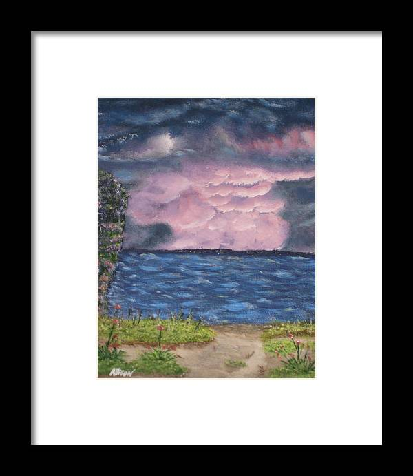 Sky Framed Print featuring the painting Pink Sky by Allison Prior