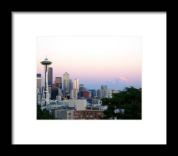 Cityscape Framed Print featuring the photograph Pink Sky Over Mount Rainier by Sonja Anderson