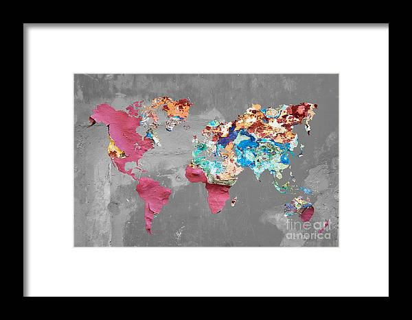 Street World Map.Pink Street Art World Map Framed Print By Delphimages Photo Creations