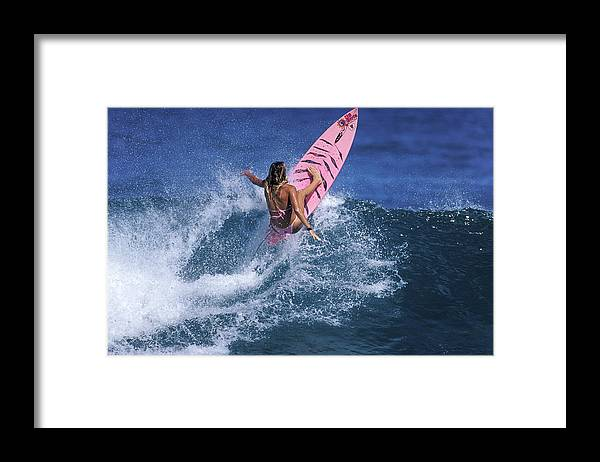 Surfer Girl Framed Print featuring the photograph Pink Surfer. by Sean Davey