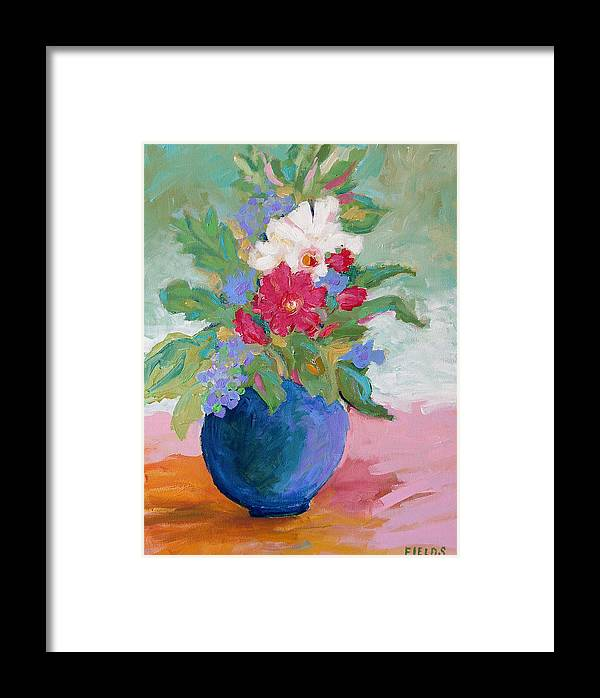 Flowers Framed Print featuring the painting Pink Tablecloth by Karen Fields