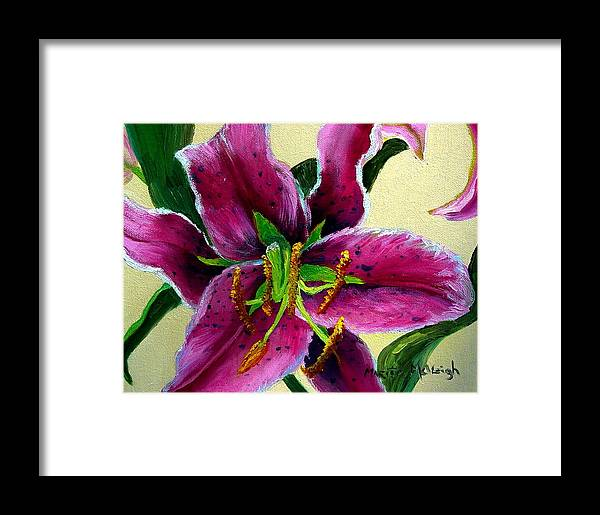 Pink Flower Framed Print featuring the painting Pink Tiger by Marita McVeigh