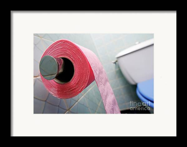 Horizontal Framed Print featuring the photograph Pink Toilet Roll On Holder In Bathroom by Sami Sarkis