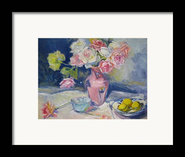 Roses Framed Print featuring the painting Pink Vase by Susan Jenkins
