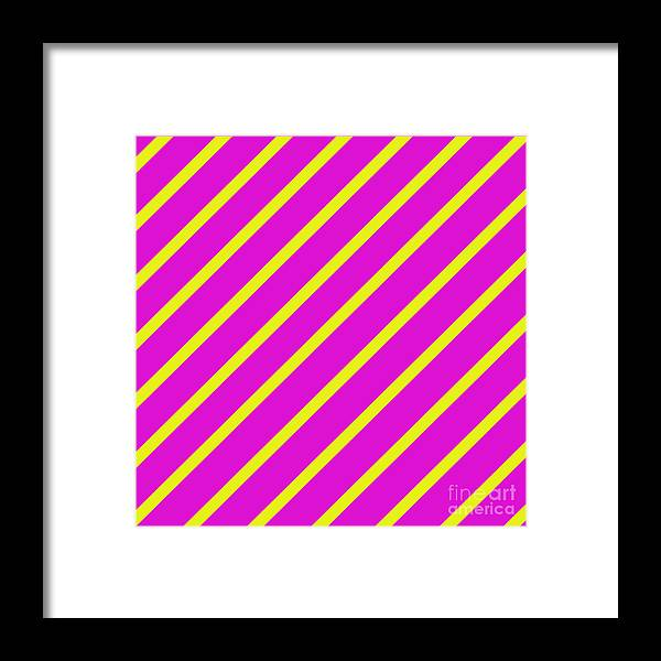 Unique Framed Print featuring the digital art Pink Yellow Angled Stripes by Susan Stevenson